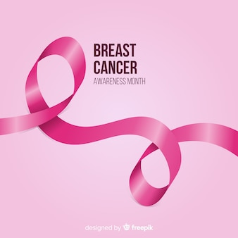 Breast cancer awareness with realistic pink ribbon
