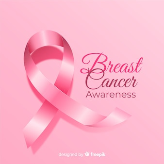 Breast cancer awareness with realistic ribbon