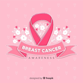 Breast cancer awareness with ribbon flat design