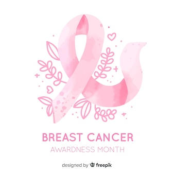 Breast cancer awareness with ribbon watercolor