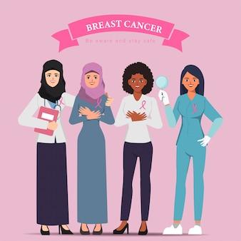 아랍 의사 치료와 유방암 인식 여자 캐릭터.