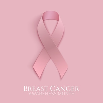 Breast cancer background with pink ribbon.  illustration.