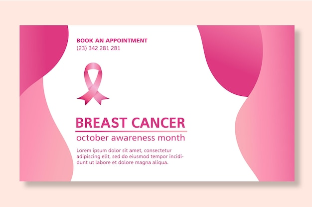 Breast cancer banner template design