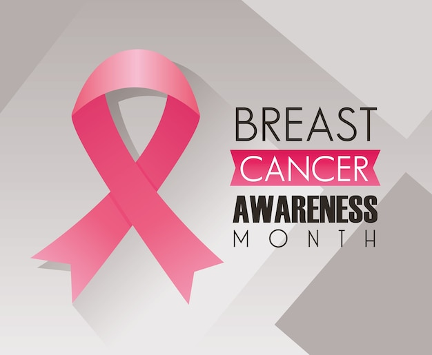 Breast cancer campaign lettering with pink ribbon in gray background