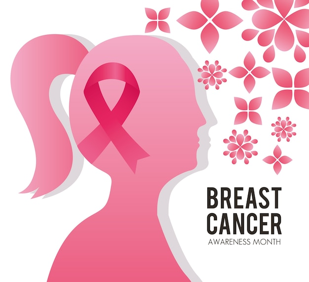 Breast cancer campaign lettering with pink ribbon in head woman silhouette