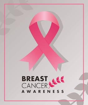Breast cancer campaign lettering with pink ribbon and leafs square frame