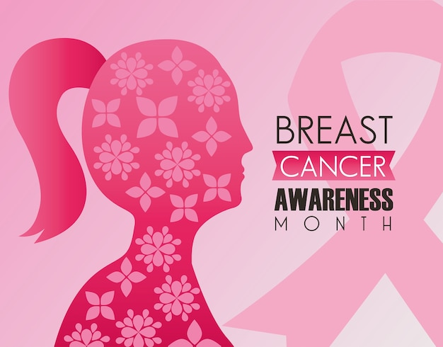 Breast cancer campaign lettering with pink ribbon and woman profile silhouette