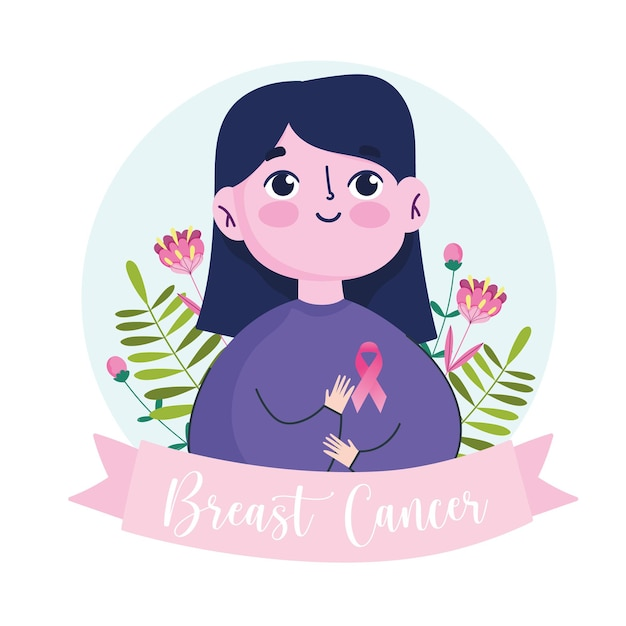 Breast cancer cartoon woman with pink ribbon flowers banner  illustration