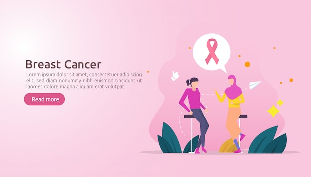 Breast cancer day awareness month with pink ribbon