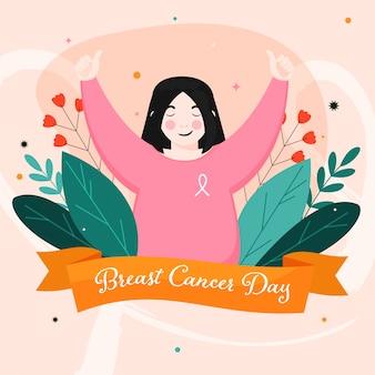Шрифт дня рака молочной железы в оранжевой ленте с молодой девушкой показывает палец вверх и цветочным декором на пастельном персиковом фоне.