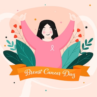 Breast cancer day font in orange ribbon with young girl showing thumbs up and floral decorated on pastel peach background.