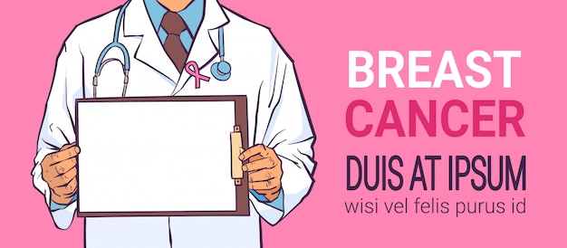 Breast cancer day male doctor banner