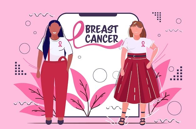 Breast cancer day mix race women wearing clothes with pink ribbon standing together disease awareness and prevention concept online mobile application smartphone screen