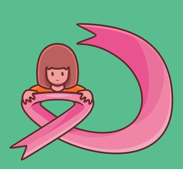 乳がんの女の子はピンクのテープ漫画の女性のがんの概念を抱きしめます孤立したイラストフラットスタイル