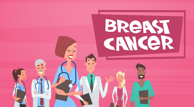 Breast cancer group of doctors on disease awareness and prevention poster