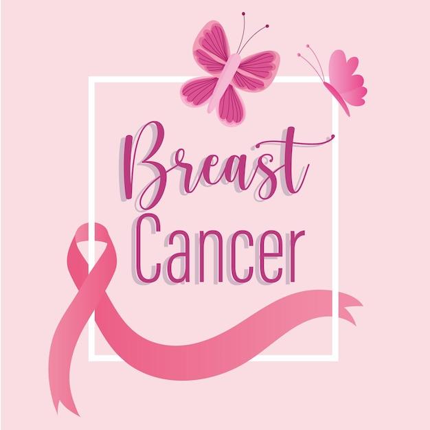 乳がん手描きレタリングリボンとピンクの蝶のイラスト