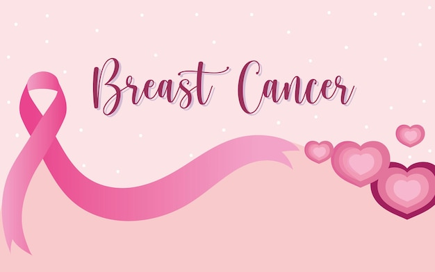 Breast cancer handwritten text pink ribbon hearts banner  illustration