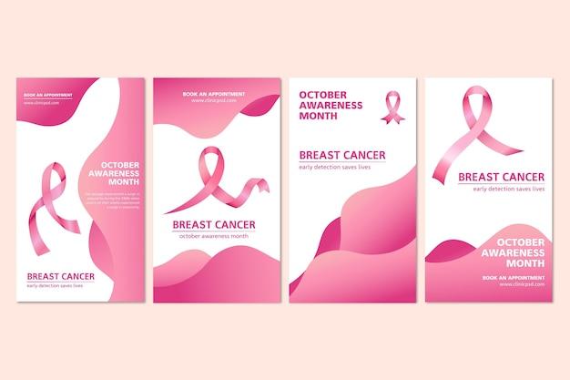 Набор историй о раке груди в instagram