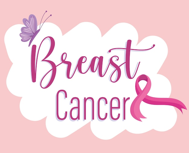 Breast cancer lettering ribbon and butterfly on cloud  illustration