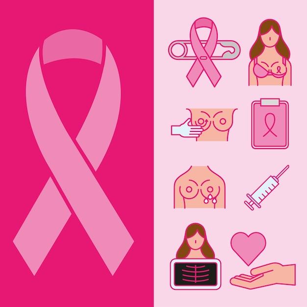 유방암 선 및 채우기 스타일 아이콘 모음