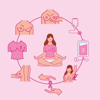 Breast cancer line and fill style icons set