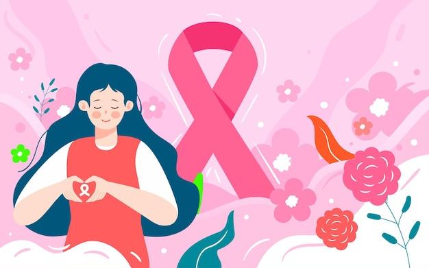 여성 건강 일러스트 의료 암 암 포스터에 유방암의 달 초점