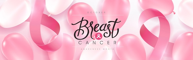 Breast cancer october awareness month pink balloons background