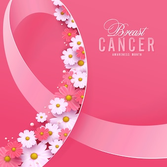 Breast cancer october awareness month pink ribbon and flower background