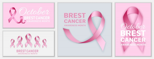 Breast cancer october banner set