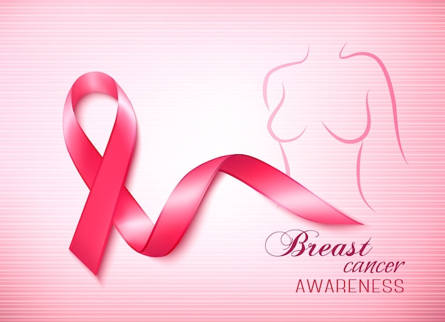Розовый фон рака груди - лента осведомленности и стетоскоп