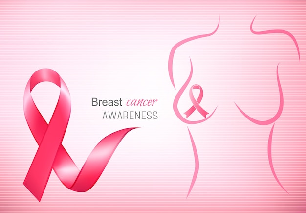 Breast cancer pink background - an awareness ribbon and a stethoscope