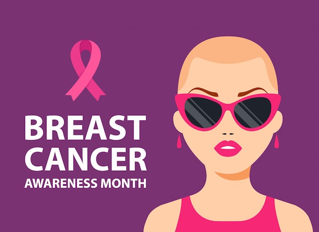 Breast cancer poster. bald girl with a pink ribbon on her chest