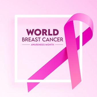 世界啓発月間コンセプトの光沢のあるピンクの背景に乳がんリボン。