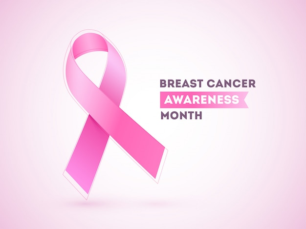 Breast cancer ribbon on pink glossy  for awareness month