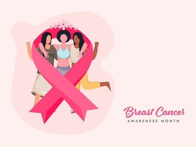 Лента рака груди с безликими молодыми девушками, обнимающимися вместе на пастельно-розовом фоне для месяца осведомленности.