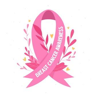 핑크 리본 및 잎 유 방 암 기호