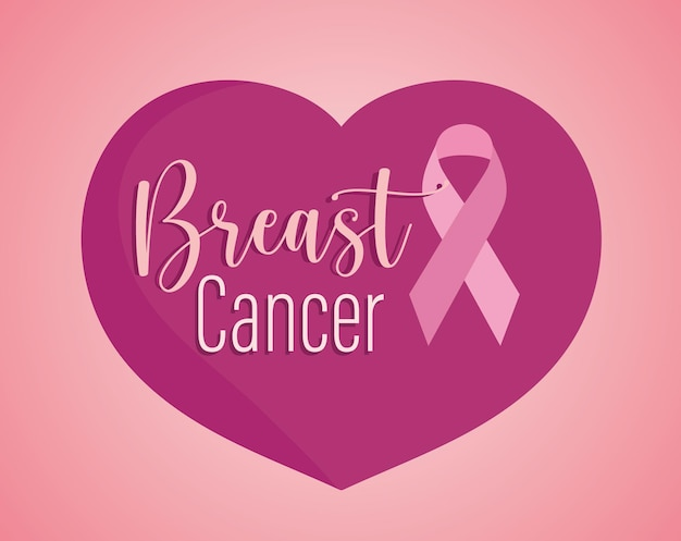 Breast cancer text and ribbon on heart pink background  illustration