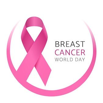 乳がんの世界デー。女性乳がんの意識ピンクシルクリボン。医療キャンペーンのベクトルの背景