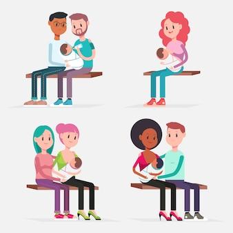 모유 수유 아기 전통 및 lgbt 커플. 벡터 평면 만화 캐릭터 격리 개념 그림을 설정합니다.