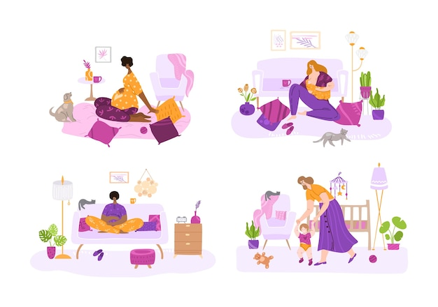Breast feeding, motherhood, awating for a baby and pregnancy concept - set of mothers or pregnant women. nursing baby, maternity leave