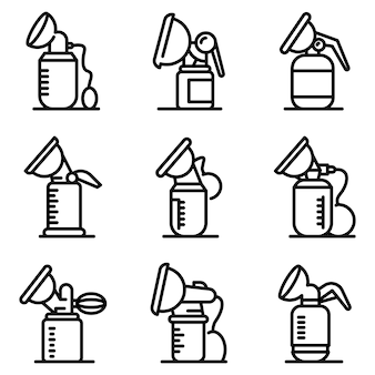 Breast pump icons set
