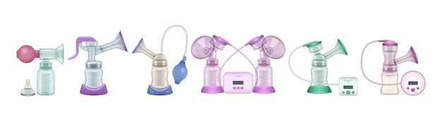 Breast pump realistic set icon. illustration breastmilk on white background . isolated realistic set icon breast pump.