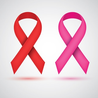 Breast ribbon red and pink color