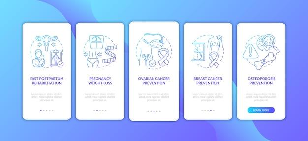 모바일 앱 페이지 화면에 온 보딩하는 여성을위한 모유 수유 혜택