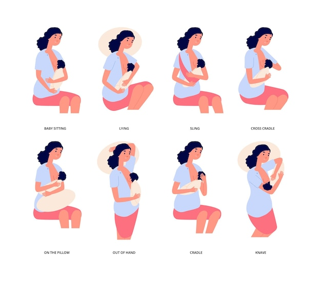 母乳育児。母乳育児の位置、かわいい若い女性は赤ちゃんを抱き、自然に授乳します。