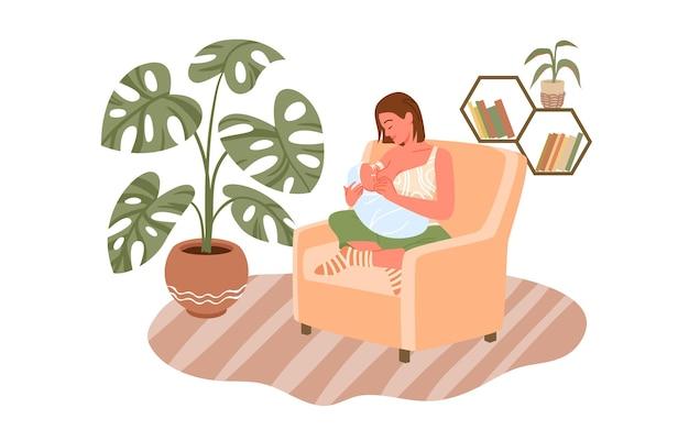 母乳育児出産と出産の若い母親のキャラクターが生まれたばかりの赤ちゃんの幸せな母を養う