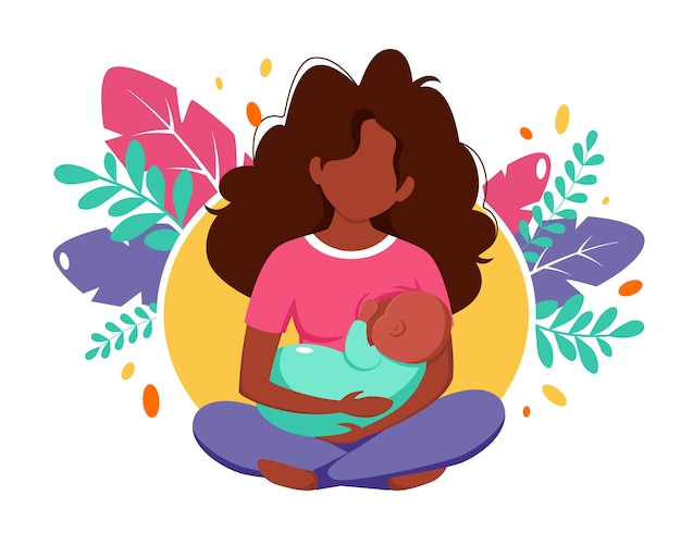Breastfeeding concept. black woman feeding a baby with breast on leaves background.  illustration in flat style.