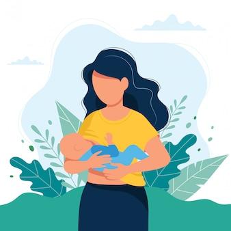 모유 수유 일러스트, 자연 배경에 유방으로 아기를 먹이는 어머니