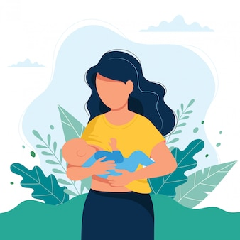 Breastfeeding illustration, mother feeding a baby with breast on natural background