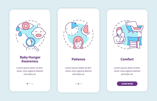 Breastfeeding tips onboarding mobile app page screen with concepts